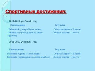 Спортивные достижения: 2011-2012 учебный год 2011-2012 учебный год Наименован