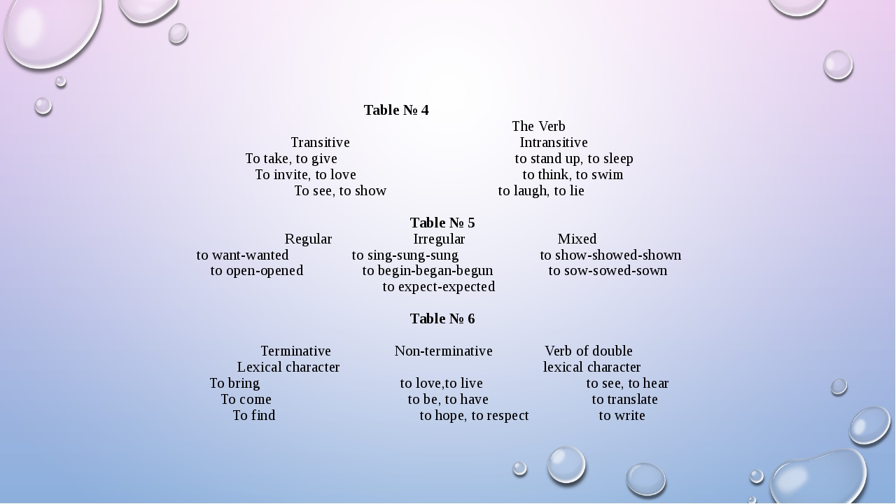 Table № 4 The Verb Transitive Intransitive To take, to give to stand up, to...