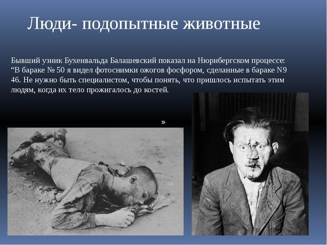 » Люди- подопытные животные Бывший узник Бухенвальда Балашевский показал на Н...