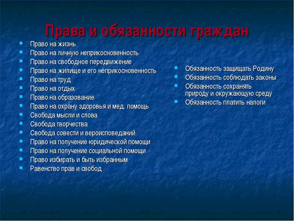Права и обязанности граждан Право на жизнь Право на личную неприкосновенность...