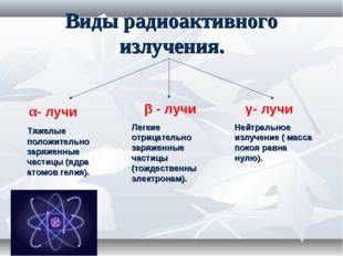 Виды радиоактивного излучения. β - лучи Легкие отрицательно заряженные частиц