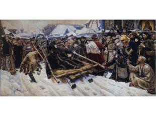 В картине «Боярыня Морозова» Суриков вновь выбирает тему конфликта, при котор