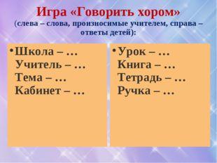 Игра «Говорить хором» (слева – слова, произносимые учителем, справа – ответы
