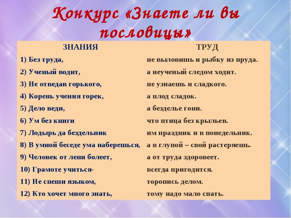 Конкурс «Знаете ли вы пословицы» ЗНАНИЯТРУД 1) Без труда, не выловишь и рыб...
