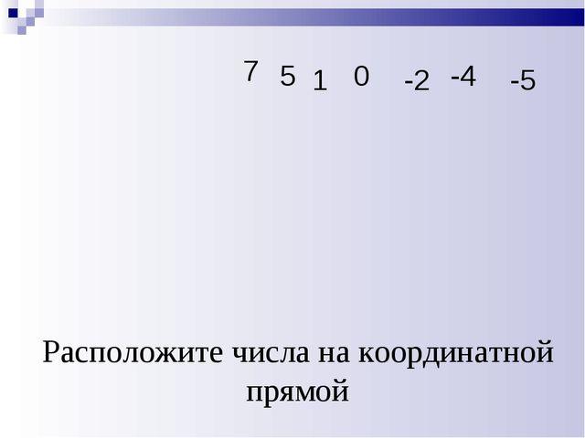 Расположите числа на координатной прямой 5 -2 0 -4 1 -5 7