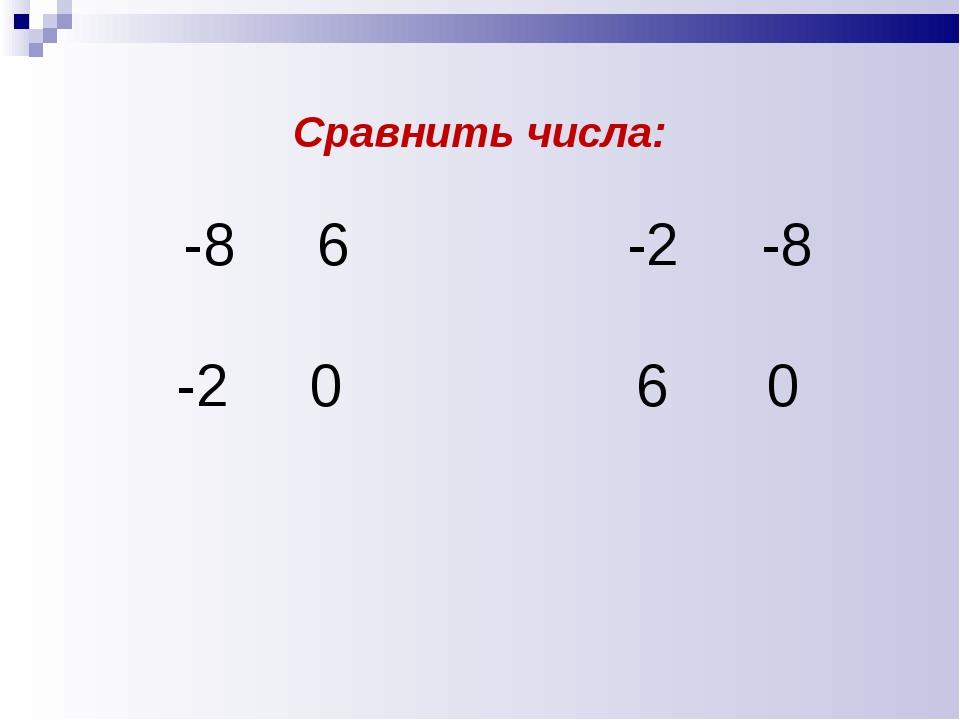 Сравнить числа: -8 6 -2 -8 -2 0 6 0