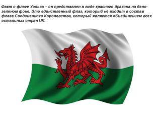 Факт о флаге Уэльса – он представлен в виде красного дракона на бело-зеленом