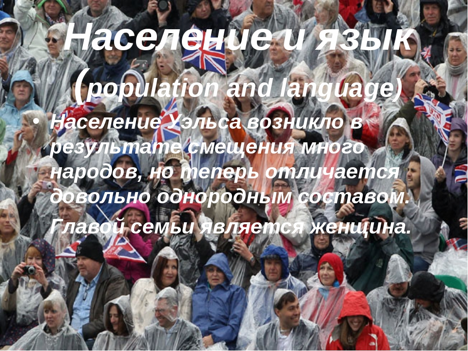 Население и язык (population and language) Население Уэльса возникло в резуль...