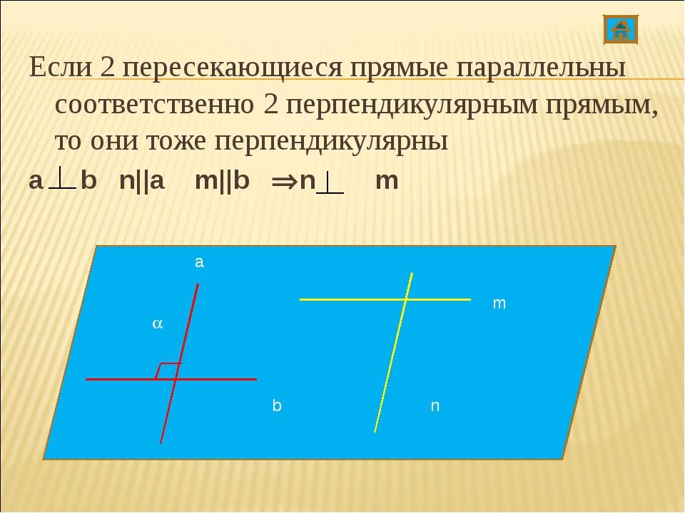 Если 2 пересекающиеся прямые параллельны соответственно 2 перпендикулярным пр...