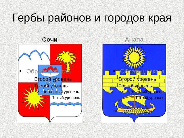 Гербы районов и городов края Сочи Анапа