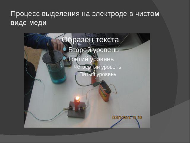 Процесс выделения на электроде в чистом виде меди