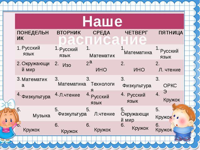 Наше расписание Русский язык Окружающий мир Математика Физкультура Музыка Рус...