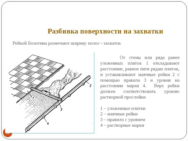 Разбивка поверхности на захватки * Рейкой Болотина размечают ширину полос -...