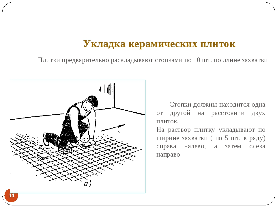 Укладка керамических плиток *  Плитки предварительно раскладывают стопками п...