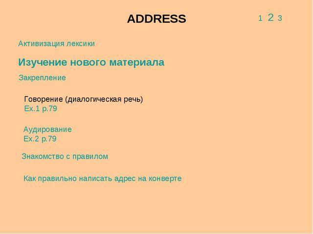 ADDRESS 1 2 3 Активизация лексики Изучение нового материала Закрепление Говор...