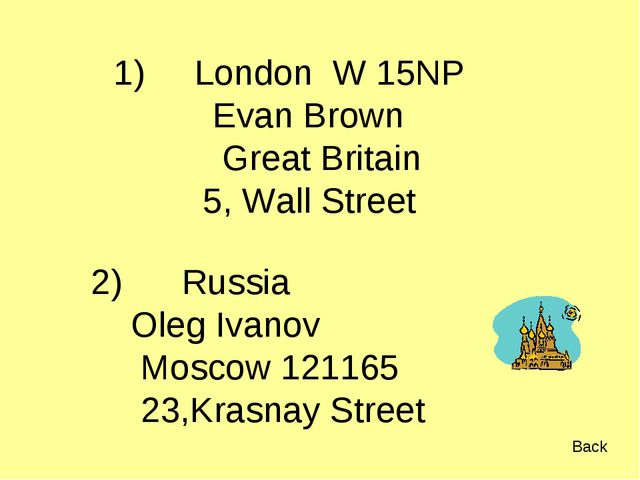1) London W 15NP Evan Brown Great Britain 5, Wall Street Russia Oleg Ivanov M...