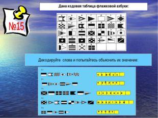 Дана кодовая таблица флажковой азбуки: Декодируйте слова и попытайтесь объясн