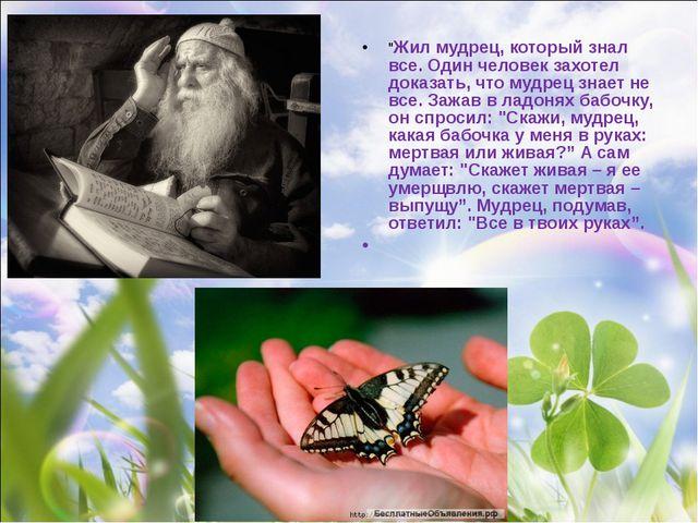 """""""Жил мудрец, который знал все. Один человек захотел доказать, что мудрец зна..."""