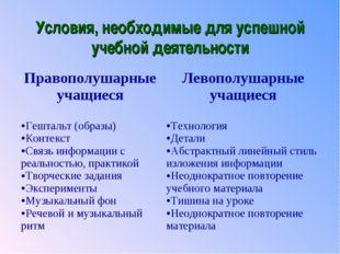 Условия, необходимые для успешной учебной деятельности Правополушарные учащие