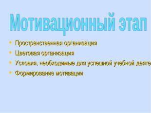 Пространственная организация Цветовая организация Условия, необходимые для ус