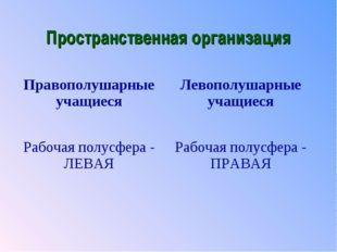 Пространственная организация Правополушарные учащиесяЛевополушарные учащиеся