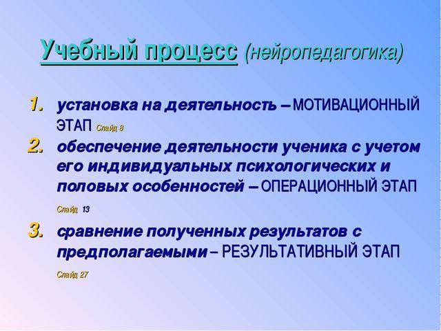 Учебный процесс (нейропедагогика) установка на деятельность – МОТИВАЦИОННЫЙ Э...