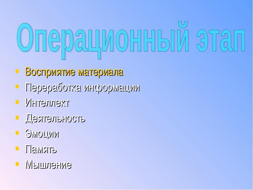 Восприятие материала Переработка информации Интеллект Деятельность Эмоции Пам...