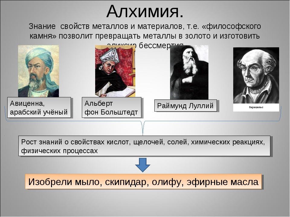 Алхимия. Знание свойств металлов и материалов, т.е. «философского камня» позв...