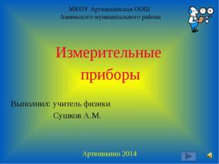 МКОУ Артюшкинская ООШ Аннинского муниципального района Измерительные приборы
