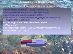 Хватит ли на Земле воды? Запасы воды на Земле – 1млн 454 тыс м³ , из них мене
