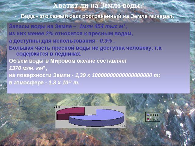 Хватит ли на Земле воды? Запасы воды на Земле – 1млн 454 тыс м³ , из них мене...
