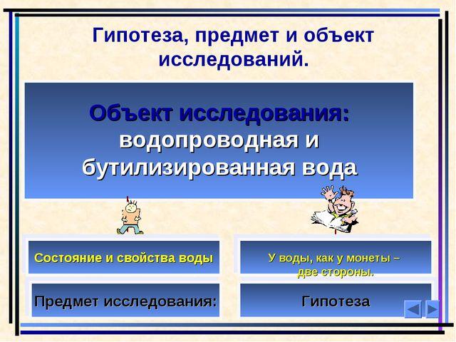 Гипотеза, предмет и объект исследований. Объект исследования: водопроводная и...