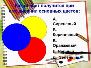 Какой цвет получится при смешивании основных цветов: А. Сиреневый Б. Коричне