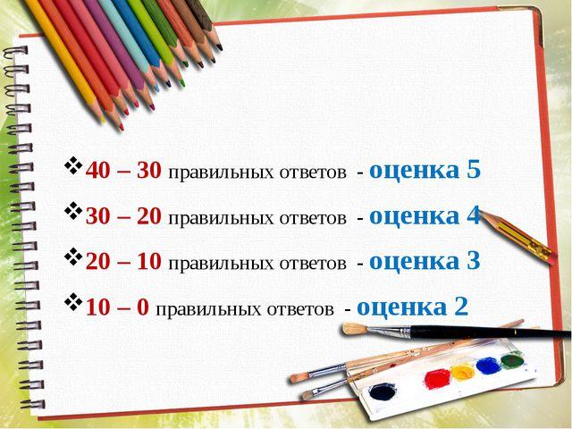 40 – 30 правильных ответов - оценка 5 30 – 20 правильных ответов - оценка 4 2...