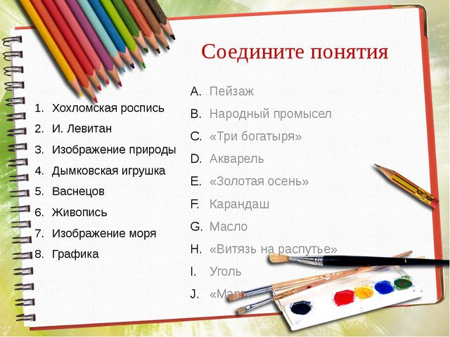 Соедините понятия Хохломская роспись И. Левитан Изображение природы Дымковска...