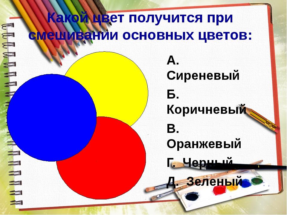 Какой цвет получится при смешивании основных цветов: А. Сиреневый Б. Коричне...