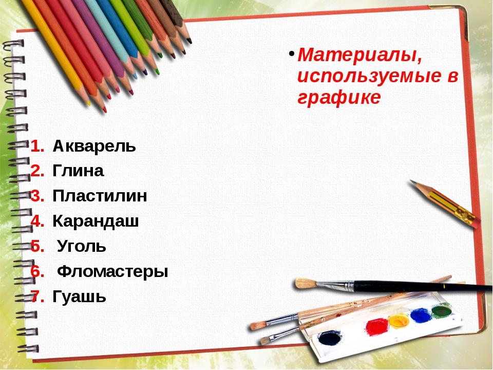 Материалы, используемые в графике Акварель Глина Пластилин Карандаш Уголь Фло...