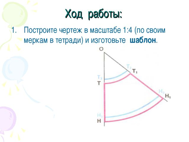 Ход работы: Построите чертеж в масштабе 1:4 (по своим меркам в тетради) и изг...