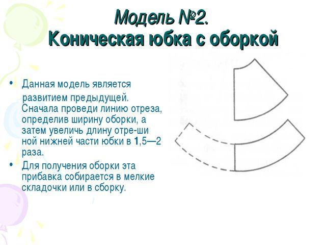 Модель №2. Коническая юбка с оборкой Данная модель является развитием предыду...