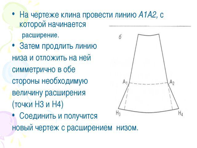 На чертеже клина провести линию А1А2, с которой начинается расширение. Затем...