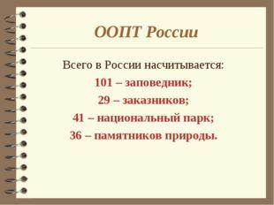 ООПТ России Всего в России насчитывается: 101 – заповедник; 29 – заказников;