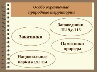 Особо охраняемые природные территории Заповедники П.19,с.113 Заказники Национ