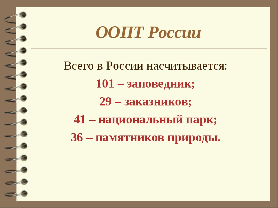 ООПТ России Всего в России насчитывается: 101 – заповедник; 29 – заказников;...