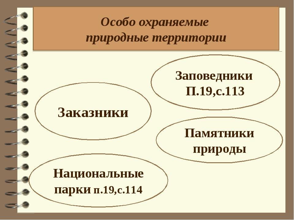 Особо охраняемые природные территории Заповедники П.19,с.113 Заказники Национ...
