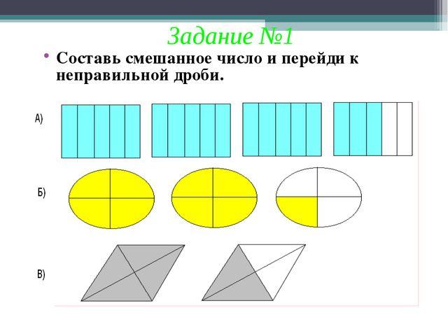 Задание №1 Составь смешанное число и перейди к неправильной дроби.