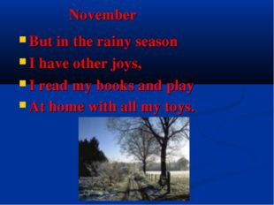 November But in the rainy season I have other joys, I read my books and play