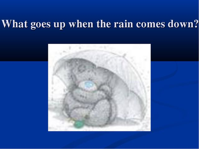 What goes up when the rain comes down?