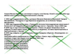 Озеров Михаил Иванович участвовал в защиты села Кизляр .Поги