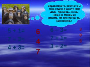 5 + 1= 7 – 3= 4 + 3= 6 – 3= 7 + 1= 3 + 2= 6 4 7 3 8 5 Здравствуйте, ребята!