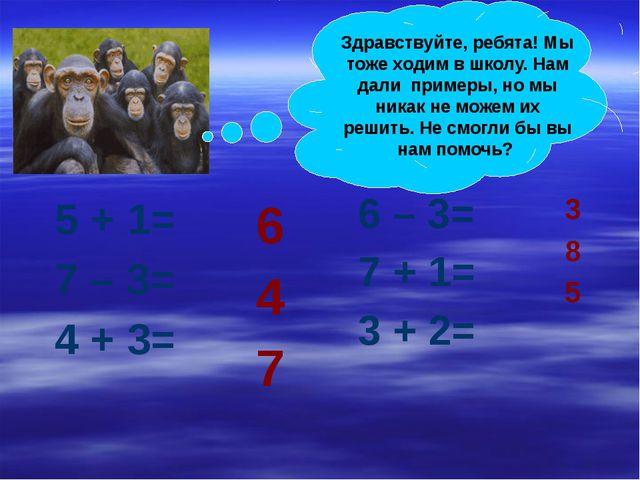 5 + 1= 7 – 3= 4 + 3= 6 – 3= 7 + 1= 3 + 2= 6 4 7 3 8 5 Здравствуйте, ребята!...
